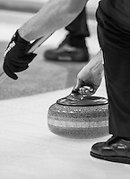Glasgow. SCOTLAND. &quot;The Grip, on the Stone&quot; befor release&quot; Round Robin&quot; Game.  Scotland vs Italy at the Le Gruy&egrave;re European Curling Championships. 2016 Venue, Braehead  Scotland<br /> Wednesday  23/11/2016<br /> <br /> [Mandatory Credit; Peter Spurrier/Intersport-images]