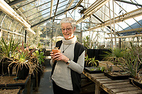 Professor of Biology Gretchen North in the Greenhouse, on top of the Bioscience Building on February 22, 2011. (Photo by Marc Campos, Occidental College Photographer)