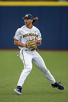 Michigan Wolverines outfielder Jordan Brewer (22) warms up in the outfield before the NCAA baseball game against the Michigan State Spartans on May 7, 2019 at Ray Fisher Stadium in Ann Arbor, Michigan. Michigan defeated Michigan State 7-0. (Andrew Woolley/Four Seam Images)