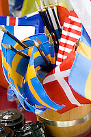Flags of Sweden, Iceland, Denmark and America. Svenskarnas Dag Swedish Heritage Day Minnehaha Park Minneapolis Minnesota USA