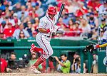 29 June 2017: Washington Nationals infielder Wilmer Difo avoids a ball in the dirt as he pinch hits in the 9th inning against the Chicago Cubs at Nationals Park in Washington, DC. The Cubs rallied against the Nationals to win 5-4 and split their 4-game series. Mandatory Credit: Ed Wolfstein Photo *** RAW (NEF) Image File Available ***