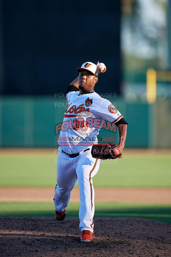 Baltimore Orioles relief pitcher Pedro Araujo (38) delivers a pitch during a Grapefruit League Spring Training game against the Detroit Tigers on March 3, 2019 at Ed Smith Stadium in Sarasota, Florida.  Baltimore defeated Detroit 7-5.  (Mike Janes/Four Seam Images)