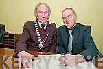 Paul Nagle, Killarney, winning navigator in the Intercontinental Rally Challenge, pictured with Killarney Mayor Michael Gleeson, at the civic reception in his honour in the Killarney UDC chamber on Friday night.