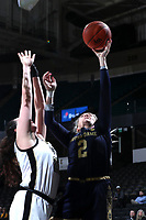 WINSTON-SALEM, NC - FEBRUARY 06: Kaitlin Cole #2 of the University of Notre Dame shoots a layup during a game between Notre Dame and Wake Forest at Lawrence Joel Veterans Memorial Coliseum on February 06, 2020 in Winston-Salem, North Carolina.