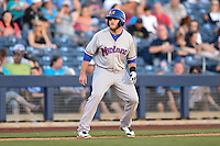 Midland RockHounds third baseman Max Muncy (9) leads off third during a game against the Tulsa Drillers on May 31, 2014 at ONEOK Field in Tulsa, Oklahoma.  Tulsa defeated Midland 5-3.  (Mike Janes/Four Seam Images)