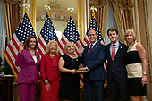 Speaker of the United States House of Representatives Nancy Pelosi (Democrat of California) attends a ceremonial swearing-in ceremony for Congressman-elect Dan Bishop (Republican of North Carolina), along with his wife Jo Bishop, son Jack Bishop, and his extended family at the United States Capitol in Washington D.C., U.S. on September 17, 2019.<br /> <br /> Credit: Stefani Reynolds / CNP