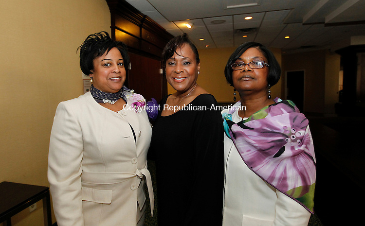 Waterbury, CT-28 April 2012-042812CM03-  SOCIAL MOMENTS: L-R Frances Hardy, President of the Waterbury Chapter of NCBW Jacqueline Butler, vice president and Audrey Thomas, secretary, at a meeting of the National Congress of Black Women Saturday afternoon at the Courtyard Marriott in Waterbury.    Christopher Massa Republican-American