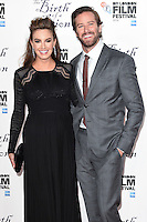 "Armie Hammer and wife, Elizabeth Chambers<br /> at the London Film Festival 2016 premiere of ""The Birth of a Nation"" at the Odeon Leicester Square, London.<br /> <br /> <br /> ©Ash Knotek  D3173  11/10/2016"