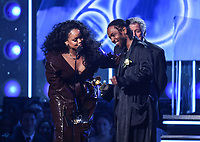 NEW YORK - JANUARY 28: Kendrick Lamar and Rihanna accept the award for Best Rap/Sung Performance from Tony Bennet and John Legend during the 60th Annual Grammy Awards at Madison Square Garden on January 28, 2018 in New York City. (Photo by Frank Micelotta/PictureGroup)
