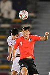 Ji Dongwon of South Korea (front) fights for the ball with Boualem Khoukhi of Qatar (back) during the AFC Asian Cup UAE 2019 Quarter Finals match between Qatar (QAT) and South Korea (KOR) at Zayed Sports City Stadium  on 25 January 2019 in Abu Dhabi, United Arab Emirates. Photo by Marcio Rodrigo Machado / Power Sport Images