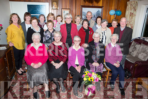 Residents of Dromhall gave their neighbours front row l-r: Sr Columba, Sr Julianne, Sr Assumpta, Sr Regina and Sr Dolores a fond farewell party last Friday as they are returning to live in the convent in Killarney next week