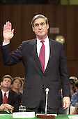 Robert S. Mueller, III is sworn-in before the U.S. Senate Judiciary Committee to testify on his nomination as new Director of the Federal Bureau of Investigation (FBI) succeeding Louis F. Freeh in Washington, DC on July 30, 2001.<br /> Credit: Ron Sachs / CNP