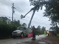 Crews restoring power during Hurricane Hurricane Dorian in St. Augustine, Fla. on September 4, 2019