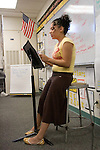 Union City CA 8th grade student presenting written composition to classmates in English class