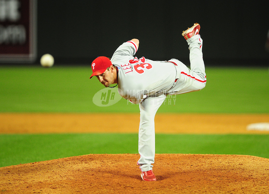 Apr. 25, 2011; Phoenix, AZ, USA; Philadelphia Phillies pitcher Cliff Lee throws in the sixth inning against the Arizona Diamondbacks at Chase Field. Mandatory Credit: Mark J. Rebilas-