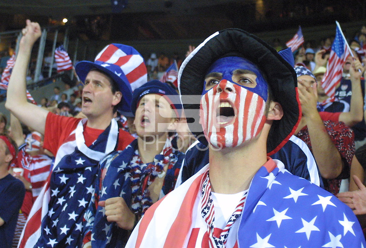 United States national team supporters cheer during the World Cup Quarterfinal match between the United States and Germany on June 21th, 2002 in Ulsan, South Korea.  Germany beat the USA 1-0