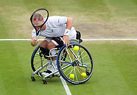 Alfie Hewett (2) in action with partner Gordon Reid (obscured) celebrates a point during their Gentlemen's Wheelchair Doubles Final on Court 3 against Stephane Houdet and Nicolas Peifer (1) of France<br /> <br /> Photographer Ashley Western/CameraSport<br /> <br /> Wimbledon Lawn Tennis Championships - Day 12 - Saturday 15th July 2017 -  All England Lawn Tennis and Croquet Club - Wimbledon - London - England<br /> <br /> World Copyright &not;&copy; 2017 CameraSport. All rights reserved. 43 Linden Ave. Countesthorpe. Leicester. England. LE8 5PG - Tel: +44 (0) 116 277 4147 - admin@camerasport.com - www.camerasport.com