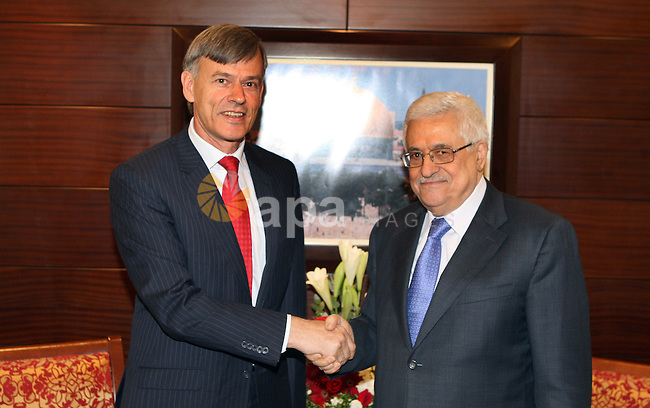 Palestinian President Mahmoud Abbas (Abu Mazen) meets with  the representative of Germany to the Palestinian Authority in the West Bank city of Ramallah, on 02 August 2012. Photo by Thaer Ganaim