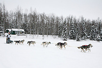 Sunday February 28, 2010  Merissa Osmar on the trail shorlty before winning the Junior Iditarod Sled Dog Race. Willow , AK