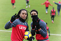 (L-R) Renato Sanches and Leroy Fer give the victory sign to the camera during the Swansea City Training and Press Conference at The Fairwood Training Ground, Swansea, Wales, UK. Thursday 25 January 2018