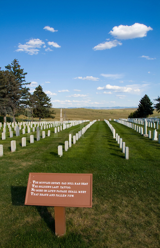 Cemetery of Little Bighorn, scene of Custers Last Stand Battlefield,  National Cemetery, Montana, USA (June 25 1876)