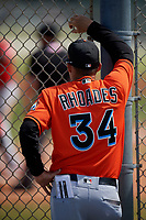 Miami Marlins Chad Rhoades (34) during a Minor League Spring Training game against the St. Louis Cardinals on March 26, 2018 at the Roger Dean Stadium Complex in Jupiter, Florida.  (Mike Janes/Four Seam Images)