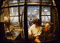 BNPS.co.uk (01202 558833)<br /> Pic: SueAdcock/FAST/BNPS<br /> <br /> Sci-fi 'Centrifuge' to open its doors to the public after 64 years...<br /> <br /> A remarkable Cold War relic which has put thousands of pilots through their G-force paces has made its final spin after six decades. <br /> <br /> The Top Secret building at the former RAE Farnborough test site is now open to the public for guided tours led by the scientists from FAST who used to work there.<br /> <br /> The Farnborough Centrifuge was used to simulate huge 9G forces - nine times more than a human body is designed to absorb - they would encounter while flying fast jets during combat operations.<br /> <br /> The pilot would sit in a small compartment replicating a cockpit at the end of the 60ft rotating arm and be propelled at over 60mph, spinning 30 times a minute.<br /> <br /> A staggering 122,133 tests were performed on it before it was decommissioned in March this year, with a new centrifuge installed at RAF Cranwell.<br /> <br /> It featured on an episode of Top Gear in 2000 when Jeremy Clarkson had a go on it at 3G, leaving him in obvious discomfort. He described the force exerted on him as like 'having an elephant sat on my chest'.<br /> <br /> The centrifuge, which is being displayed for the public for the first time, also appeared in the 1985 comedy film Spies Like Us starring Chevy Chase and Dan Ackroyd.