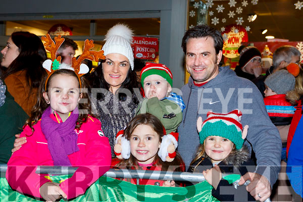 Abbie McCarthy, Aoife, Greyson, Freya, Tony and Marie Power Beaufort at the Kiilarney Christmas parade on Saturday night