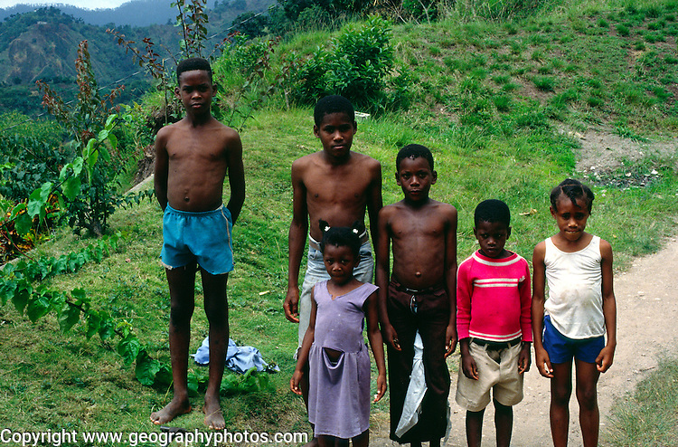 Village children pose for a photos Blue Mountains, Jamaica