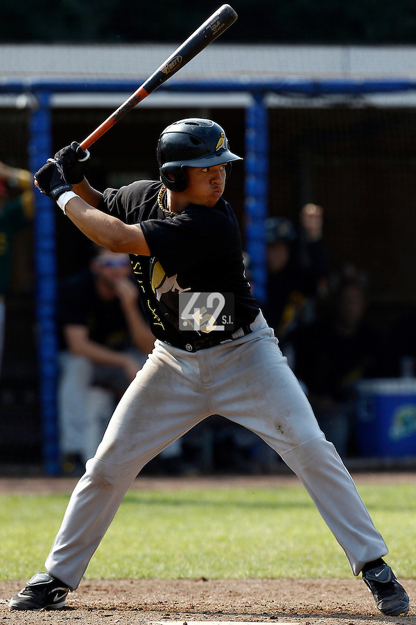 03 September 2011:  Rashid Gerard of  L&D Amsterdam Pirates is seen at bat during game 1 of the 2011 Holland Series won 5-4 in inning number 14 by L&D Amsterdam Pirates over Vaessen Pioniers, in Hoofddorp, Netherlands.