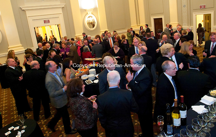 WATERBURY, CT, 08 JANUARY 2011-010811JS11--Guests fill the Veterans Memorial Chambers during the formal gala Saturday to celebrate the reopening of the newly restored City Hall  and to raise money for its garden conservancy fund. <br /> Jim Shannon Republican-American