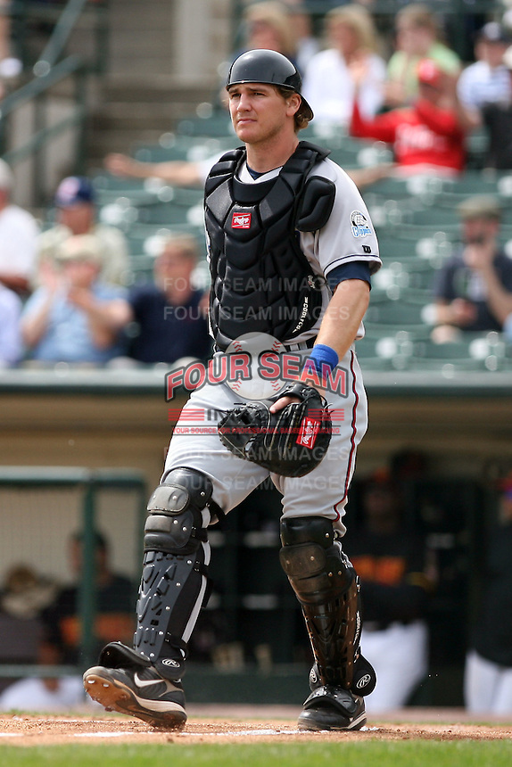May 14th 2008:  Catcher David Wallace (7) of the Columbus Clippers, Class-AAA affiliate of the Washington Nationals, during a game at Frontier Field in Rochester, NY.  Photo by Mike Janes/Four Seam Images