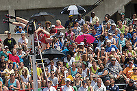 With coaches (bottom) and sister Sierra (far right) watching, Jackson sophomore Dakota Maddox knocks off the bar during an attempt in the Class 4 pole vault at the 2014 MSHSAA Class 3-4 State Track and Field Championships, Saturday, May 31, in Jefferson City, MO. Maddox cleared 13-6 to finish eight and earn an all-state medal.