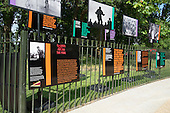 Exhibition at the opening of the newly re-landscaped speaking area at Speakers' Corner, Hyde Park, London.