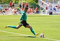 Kansas City, MO - Saturday May 13, 2017: Portland Thorns FC Adrianna Franch kicks the ball back into play during a regular season National Women's Soccer League (NWSL) match between FC Kansas City and the Portland Thorns FC at Children's Mercy Victory Field.