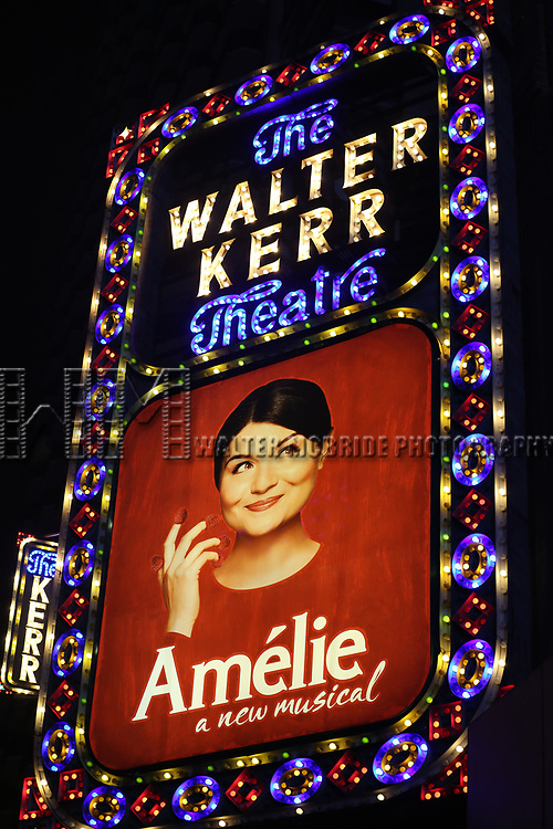 Theatre Marquee the Broadway Opening Night Performance of 'Amelie' at the Walter Kerr Theatre on April 3, 2017 in New York City