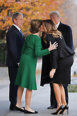 Former first lady Laura Bush and former President George W. Bush greet President Donald Trump and first lady Melania Trump outside of Blair House December 04, 2018 in Washington, DC. The Trumps were paying a condolence visit to the Bush family who are in Washington for former President George H.W. Bushs state funeral and related honors. <br /> Credit: Chip Somodevilla / Pool via CNP