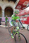Matthias Krizek (AUT) Cannondale at sign on in San Gimignano before the start of the 2014 Strade Bianche race over the white dusty gravel roads of Tuscany, Italy. 8th March 2014.<br /> Picture: Eoin Clarke www.newsfile.ie