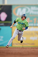 Lynchburg Hillcats right fielder Trenton Brooks (13) runs the bases during a game against the Salem Red Sox on May 10, 2018 at Haley Toyota Field in Salem, Virginia.  Lynchburg defeated Salem 11-5.  (Mike Janes/Four Seam Images)