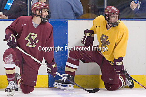 Tim Kunes and Brett Motherwell were the only Eagles to beat both goalies in the initial part of the breakaway contest that Motherwell eventually won.  The Boston College Eagles practiced on Wednesday, April 5, 2006, at the Bradley Center in Milwaukee, Wisconsin, in preparation for their 2006 Frozen Four Semi-Final game against the University of North Dakota.