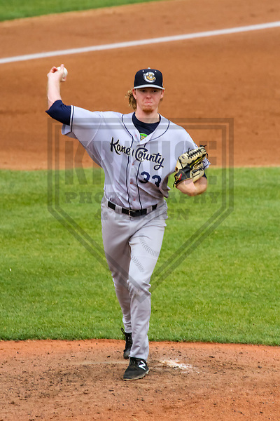 Kane County Cougars pitcher Sam McWilliams (33) during a Midwest League game against the Wisconsin Timber Rattlers on June 11, 2017 at Fox Cities Stadium in Appleton, Wisconsin.  Kane County defeated Wisconsin 6-4. (Brad Krause/Krause Sports Photography)