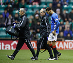19.12.2018 Hibs v Rangers: Connor Goldson off for treatment