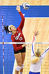KANSAS CITY, MO - DECEMBER 16: Jazz Sweet (12) of the University of Nebraska reaches to spike the ball during the Division I Women's Volleyball Championship held at Sprint Center on December 16, 2017 in Kansas City, Missouri. (Photo by Jamie Schwaberow/NCAA Photos via Getty Images)