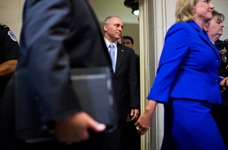 UNITED STATES - JUNE 19: Rep. Steve Scalise, R-La., leaves the House Republican leadership elections in Longworth Building were he was elected House Majority Whip, June 19, 2014. (Photo By Tom Williams/CQ Roll Call)