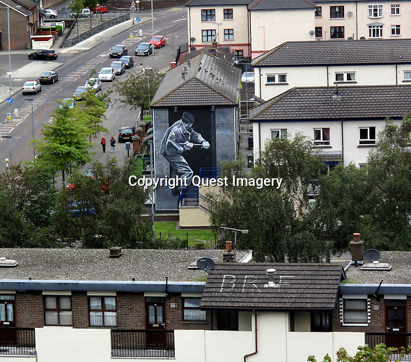 &quot;Operation Motorman, The Summer Invasion&quot; a mural that depicts some of the events that occured during 'Operation Motorman' on  July 31,  1972 displayed on the side of an apartment complex called the Rossville Flats in the Bogside, a neighborhood outside the city walls of Derry, Northern Ireland.<br />