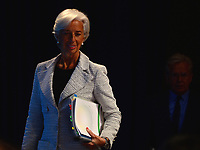 Washington, DC - April 20, 2017: International Monetary Fund Managing Director Christine Lagarde enters the press area to hold a news conference during the annual Spring Meetings of the IMF/World Bank Group at the IMF headquarters in the District of Columbia April 20, 2017, as IMF Communications director Gerry Rice accompanies her. (Photo by Don Baxter/Media Images International)