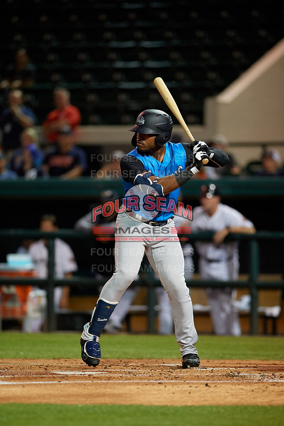 Tampa Tarpons designated hitter Steven Sensley (27) at bat during a Florida State League game against the Lakeland Flying Tigers on April 5, 2019 at Publix Field at Joker Marchant Stadium in Lakeland, Florida.  Lakeland defeated Tampa 5-3.  (Mike Janes/Four Seam Images)