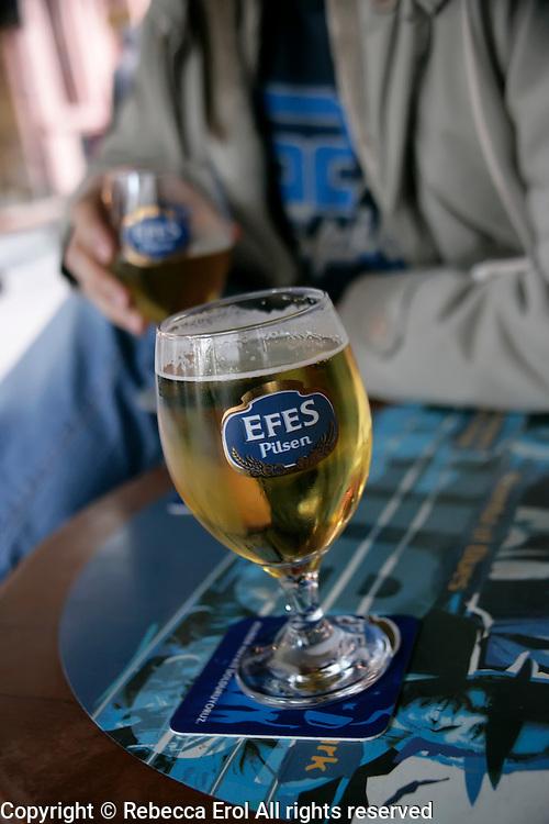 Drinking Efes beer in Taksim, Istanbul, Turkey