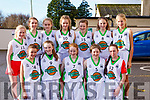 Colaiste Na Sceilga girls basketball team in the Castleisland Community Centre for ETB Girls Basketball blitz..Front l-r, Aoife Dwyer, Isabelle Curran, Sarah O&rsquo;Shea, Hanah Sugrue and Kiosha.<br /> Back l-r, Leo Dwyer, Deirdre Kelly, Leanne O&rsquo;Sullivan, Marilyn Lynch, Caiti O&rsquo;Sullivan, Rebecca O&rsquo;Shea and Andraja Bernotaite.