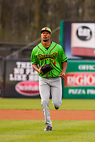 Lake County Captains outfielder Will Benson (29) jogs in from the outfield between innings during a Midwest League game against the Wisconsin Timber Rattlers on May 10, 2019 at Fox Cities Stadium in Appleton, Wisconsin. Wisconsin defeated Lake County 5-4. (Brad Krause/Four Seam Images)